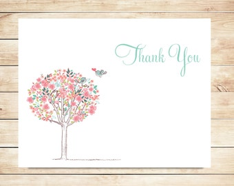 Flower Tree Wedding Thank You Cards