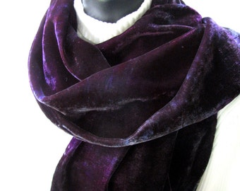 Hand Dyed Velvet Scarf - Deep Purple and Gunmetal Gray Winter accessories Valentines Day gift for Women  Gift for her girlfriend wife