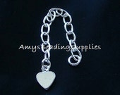 2 HEART Charm Chain Extender / 2-Inch Extension w/Flat Heart Sterling Silver .925