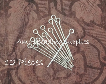 Sterling Silver 1-Inch  22 Gauge Eye Pin (12 Pieces)
