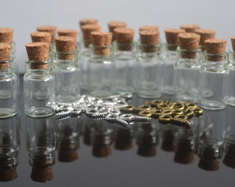 20 small vial glass cork topped bottles 0.5ml free eyescrew bails