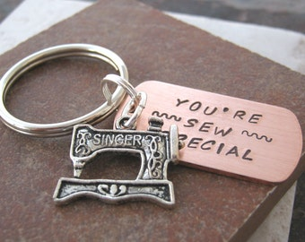 You're SEW Special Keychain with Sewing Machine Charm, silver key ring, sewing humor, optional personalized disc