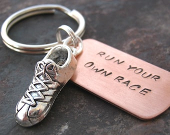 Run Your Own Race Keychain, choose MARATHON tags, hand stamped, runner's keychain, runner's gift, track keychain, cross country, read lsting