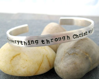 Double Sided Personalized Bracelet, custom quote aluminum cuff, 60 character limit outside, 30 character limit inside, spaces count too