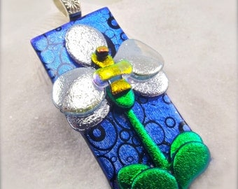 Orchid, womens handmade jewelry, one of a kind, tropical exotic flower,dichroic glass jewelry,hand made jewelry, colorful pendant, botanical
