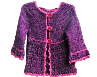 Instant download Crochet pattern PDF - Roseline cardigan - sizes newborn to 10 year-old