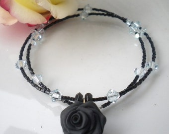 Black Rose Polymer Clay Necklace Ice Blue Swarovski Crystals