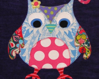 Personalized Large Purple Velour Beach Towel with Cute Owl, Pool Towel, Kids Bath Towel, Camp Towel, College Towel, Baby Towel, Swim