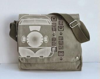 SHINKANSEN Bullet Train Pictogram Canvas Messenger Bag (KHAKI )