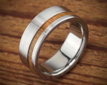 Titanium Wood Wedding Band Offset Stripe Ring