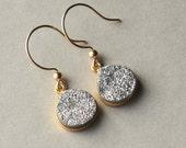 Druzy Earrings, Silver Druzy Earrings, Silver Druzy Jewelry, Metallic Jewelry