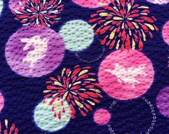 Japanese Fabric - Cotton Fabric -  1 Yard - Seersucker - Fireworks - Rabbit Fabric - Purple Fabric 110 cm x 100 cm (F97)