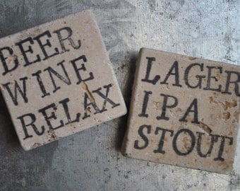 Beer & Wine Magnets or Ornaments. Set of 2. For Him, Host, Hostess, Groomsman