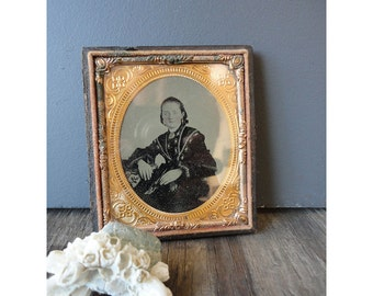 1800s Hand Tinted Sixth Plate Size Tintype in Case Half Case
