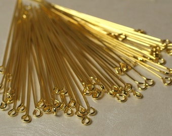Gold plated eyepin 22g thick 50mm (2 inch) long, 100 pcs (item ID XMHC00090GP)