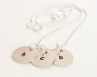 3 Initial Sterling Silver Personalized Necklace, initial jewelry, family, mom, love, minimalist