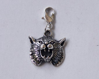 Build Your Bracelet - Silver BOBCAT or LYNX Charm Clip on Add a Charm Jewelry OR for a Pet Collar Sb-Anm038