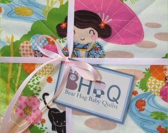 Aoi Has 2 Sisters Japanese Baby Girl Quilt in cotton and flannel for nursery baby bedding, Crib, or Toddler Bed