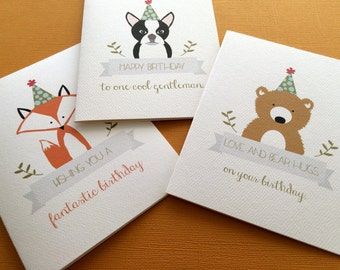 Party Animals, set of 3 birthday cards
