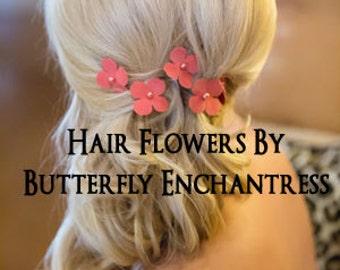 Pink Rose Coral Peach Wedding Hair Accessories, Bridal Hair Flowers, Bridesmaid Gift - 6 Pink Coral Adora Hydrangea Hair Pins