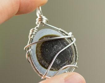 Sea glass jewelry, sea glass pendant, Wire Wrapped sea glass, Beach glass jewelry, Multicolor, Sterling silver wire,  beach glass