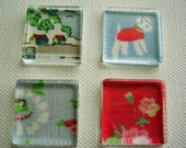 Set of 4 Glass Tile Magnets / Cath Kidston Magnets / Supercute fridge magnets Cath Kidston print  fridge magnets /  cath kidston magnets