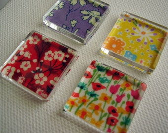 Set of 4 Liberty Print Glass Tile Magnets / Liberty Print Magnets / Liberty Magnets / Cute Magnets