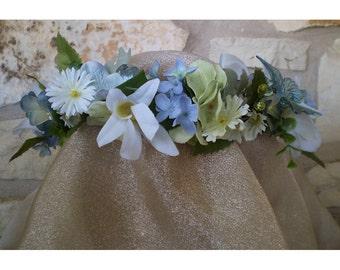 blue floral head wreath blue butterfly boho bridal flower crown wedding head piece renaissance faery costume accessory