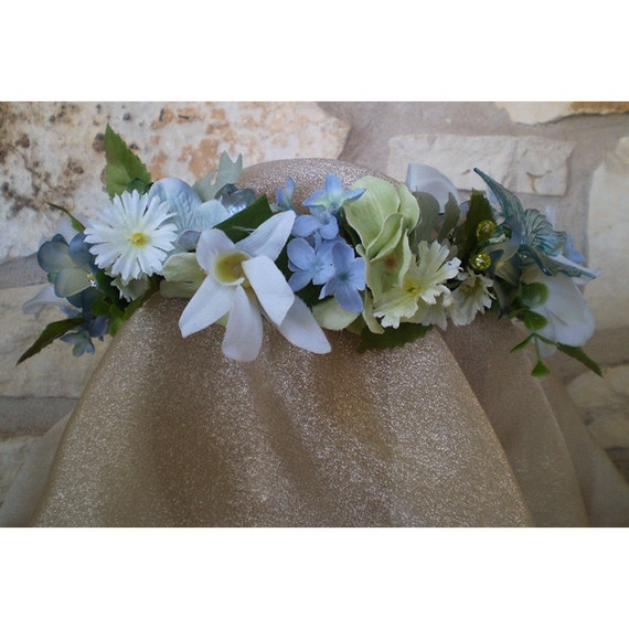 floral head wreath butterfly bridal crown wedding flowers renaissance costume
