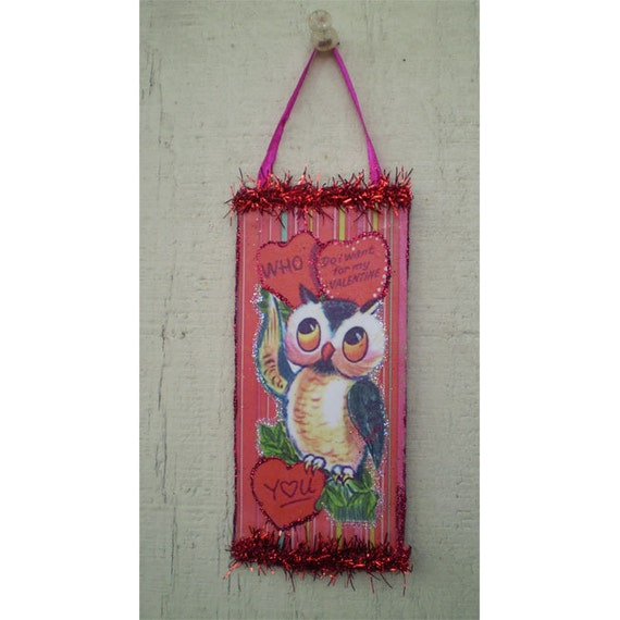 Valentines Day decoration retro owl vintage style ornament home decor romantic gift