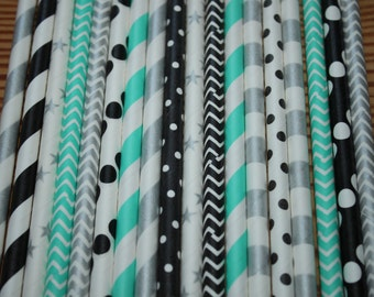 Paris Party Straws- Aqua, silver, Black Paper Straws