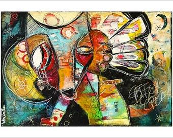 "Print- ""Dog Chief"" - Mixed Media Art, Dog Totem, Wolf Totem, Familiar, Magic"
