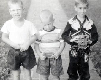 vintage photo 1950s 3 Little Boys Cowboy Costume He Holds plastic Camera