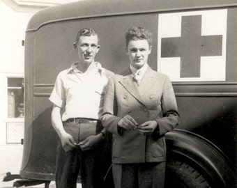 vintage photo 1940s Young Men w High Curly Hair by AMbulence Truck