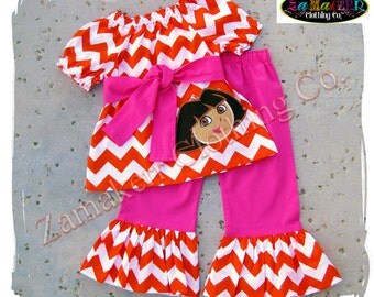 Custom Boutique Clothing Girl Dora The Explorer Birthday Outfit Set Chevron Pink Pageant Party Pant Size 9 12 18 24 month 2t 3t 4t 5t 6 7 8