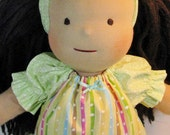 Waldorf doll dress, doll dress in pastel stripes, doll clothing with optional headband, 14, 15, 16 inch doll clothes