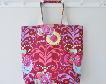 Roll Up Market Bag - Paradise Garden in Wine