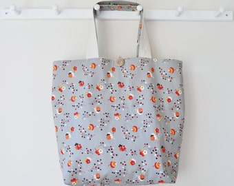 Roll Up Market Bag - Shopping Bag in Posie in Gray