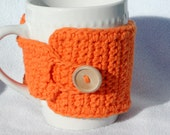 Crochet coffee mug cozy, reusable coffee cup sleeve, crochet mug warmer,  100% cotton - orange
