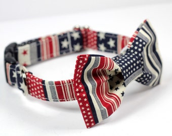 American Flag Bow Tie Collar, Doggy BowTie Collar - Stars and Stripes