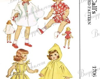 Vintage McCalls 1706 - PDF Doll sewing pattern - 14 inch Toni Doll