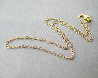 18 Inch Gold Plated Chain Necklace, Lobster Claw Clasp, 2.5mm Cable Chain Simple Necklace for Pendants, Medium Weight Necklace