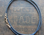Leather Cord Necklace with Bronze Swivel Clasp - Bronze and Leather cord necklace - mens - womens - distressed Indigo Blue - any length