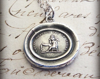 Your Absence is the Cause - Remembrance Necklace - Winged Cherub - French motto Wax Seal Necklace F135