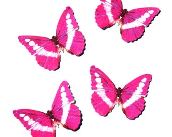 24 Pink, White & Purple Glimmer Butterfly Paper Embellishments for diy wedding, diy butterfly school kit, butterfly cupcake topper, DIY ACEO
