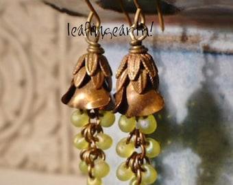 vintage brass flower cascading glass dangle earrings floral jewelry brass flower earrings woodland jewelry