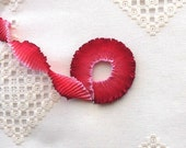 """Pleated French Wired Ribbon Acetate Rosy Red Ombré 1 meter 7/8"""" wide #58"""
