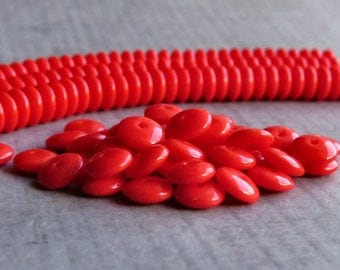 6mm Opaque Red Czech  Glass Bead Rondelle Spacer : 50 pc Red 6mm Rondelle Beads