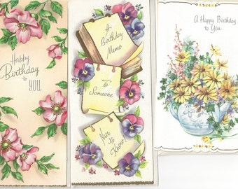 Vintage / Birthday Greeting Cards / Cards with Envelopes / Three Items