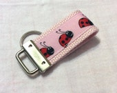 LADY BUG   Mini Key Fob    ribbon / fabric on heavy cotton webbing  Buy 3 Get 1 Free